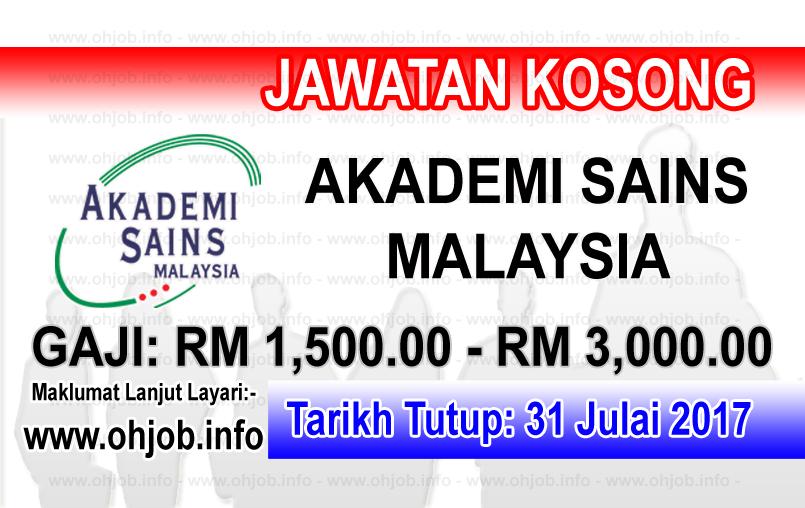 Jawatan Kerja Kosong Akademi Sains Malaysia - ASM logo www.ohjob.info julai 2017