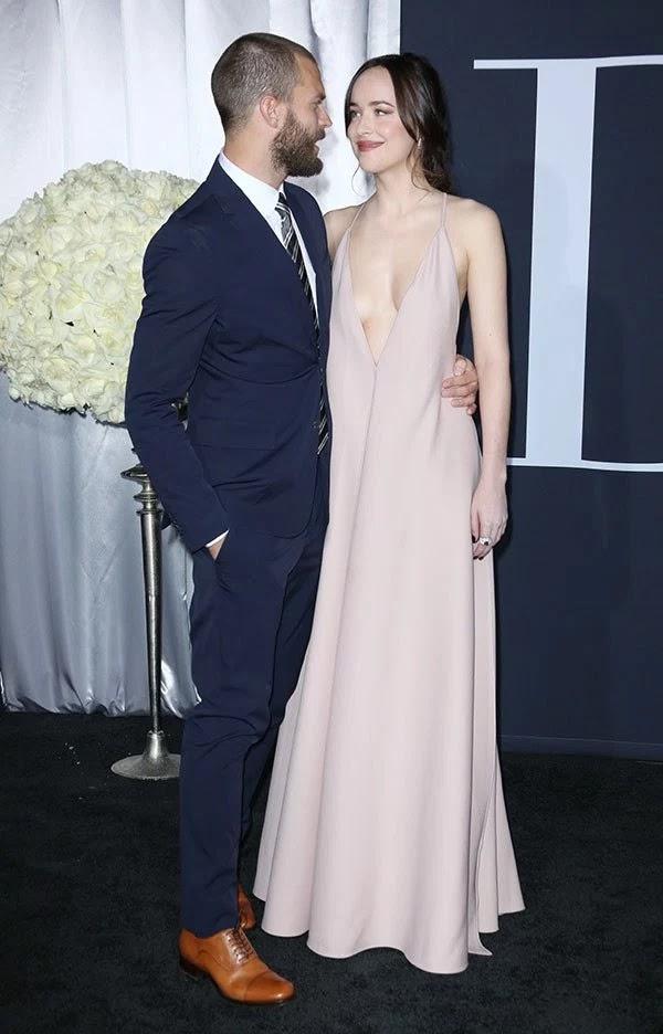 Jamie Dornan & Dakota Johnson attends the 'Fifty Shades Darker' Premiere in LA on Feb. 2, 2017