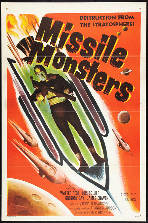 Missile Monsters - Vintage Sci-Fi Movie Poster, classic posters, free download, free posters, free printable, graphic design, movies, printables, retro prints, theater, vintage, vintage posters, vintage printables, sci-fi movie poster