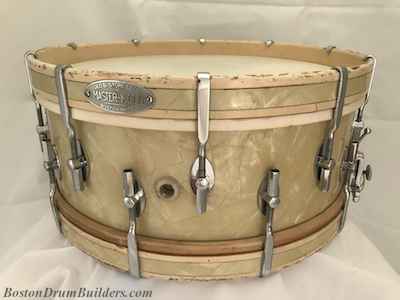 ca. mid 1930s George B. Stone % Son Master-Model Drum in White Marine Pearl