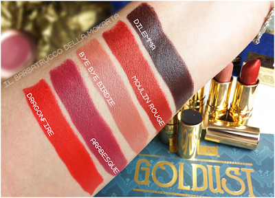 lipstick rossetti SWATCHES diva crime goldust collection Nabla cosmetics