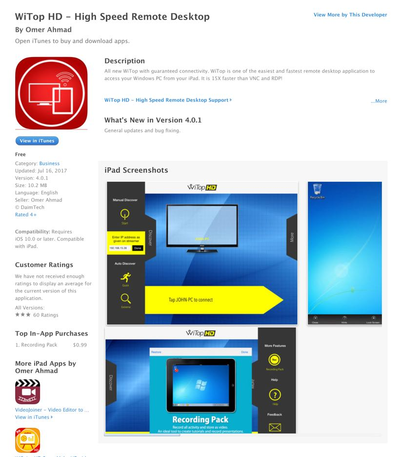 UCET Free iOS App Today: WiTOP HD - High Speed Remote