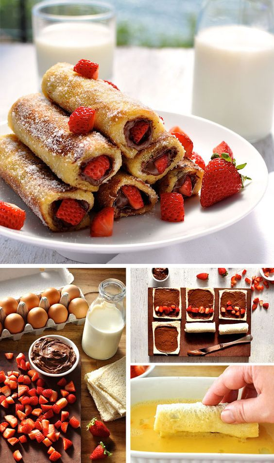 Strawberry Nutella French Toast Roll Ups #strawberry #nutella #french #frenchfood #toast #rollups #easyrecipes
