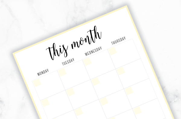 Free Printable Irma Monthly Planners by Eliza Ellis available in A4 and A5 sizes, as well as 6 pretty color themes!