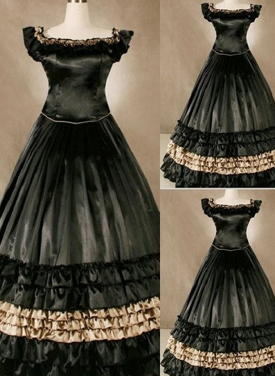 Vintage Cap Sleeves Ruffled Gothic Victorian Dress