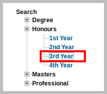 NU Honours 3rd year result select 3rd year