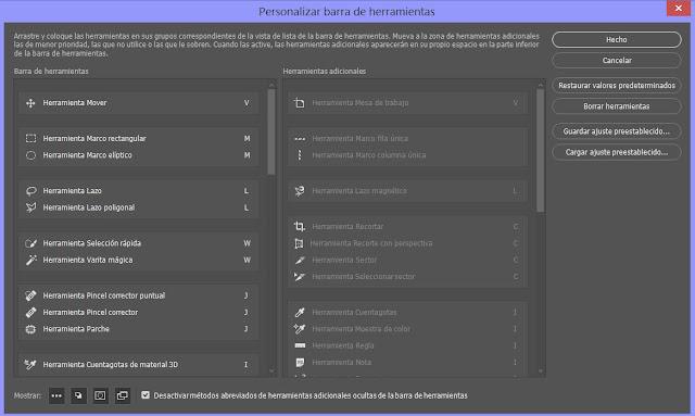 Configurar y personalizar la barra de herramientas en Photoshop