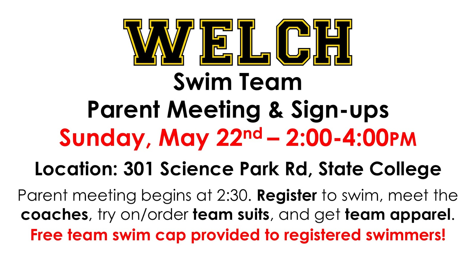 welch swim team 2017 parent meeting info session may 22