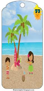 Para marcapáginas de Fiesta Hawaiana de Chicas.