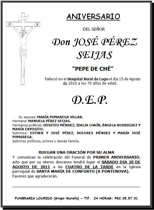 Lourido Esquela Aniversario José Pérez Seijas Pepe De Ché