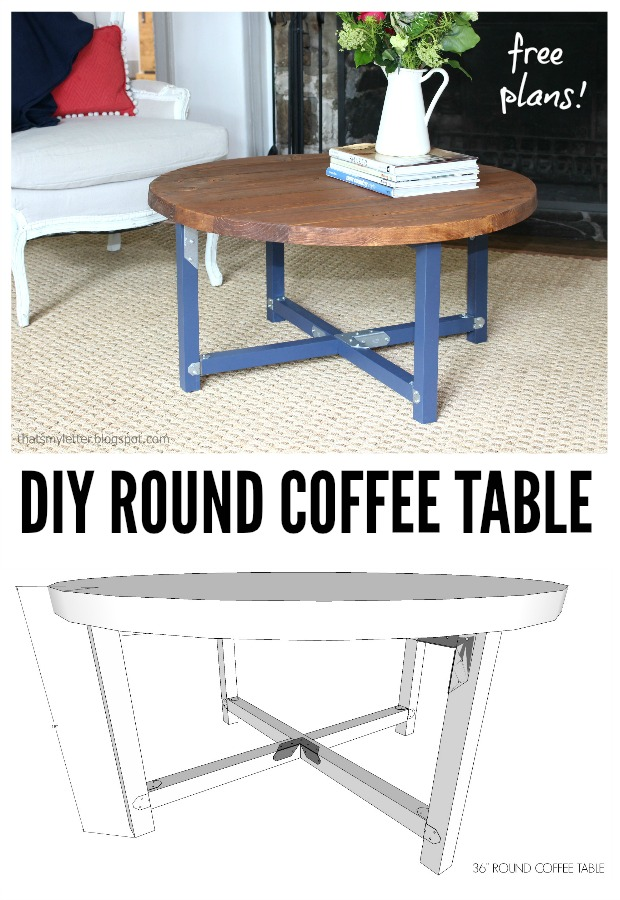 round coffee table with industrial connectors