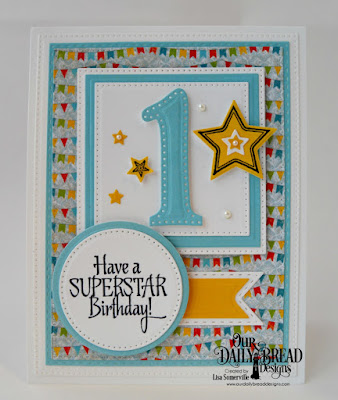 Our Daily Bread Designs Stamp Set: Superstar, Custom Dies: Large Numbers, Squares, Pierced Squares, Pierced Rectangles, Double Stitched Rectangles, Pierced Circles, Circles, Pennant Flags, Double Stitched Pennant Flats, Sparkling Stars, Paper Collections: Birthday Brights, Birthday Bash