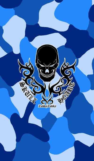 SKULL HEART2 CAMOUFLAGE BLUE