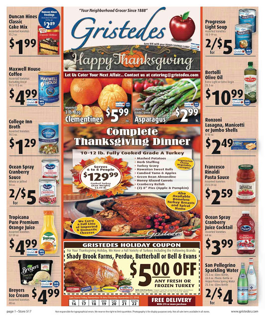 CHECK OUT ROOSEVELT ISLAND GRISTEDES Products, SALES & SPECIALS For November 16 - November 22