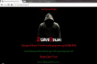 Website Resmi Pemprov Sumatera Utara di Hack