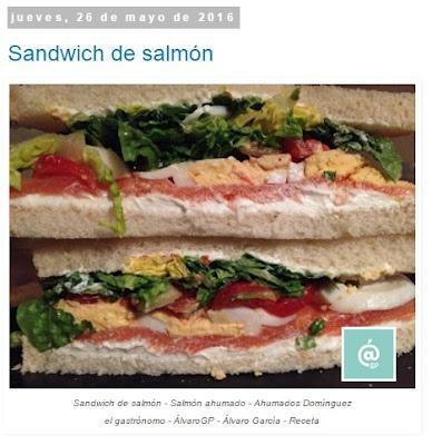 Recetas TOP10 de El Gastrónomo en mayo 2016 - Sandwich de salmón - Salmón ahumado - Ahumados Domínguez