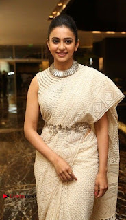 Actress Rakul Preet Singh Stills in White Dress at Winner Pre Release Function  0010.jpg