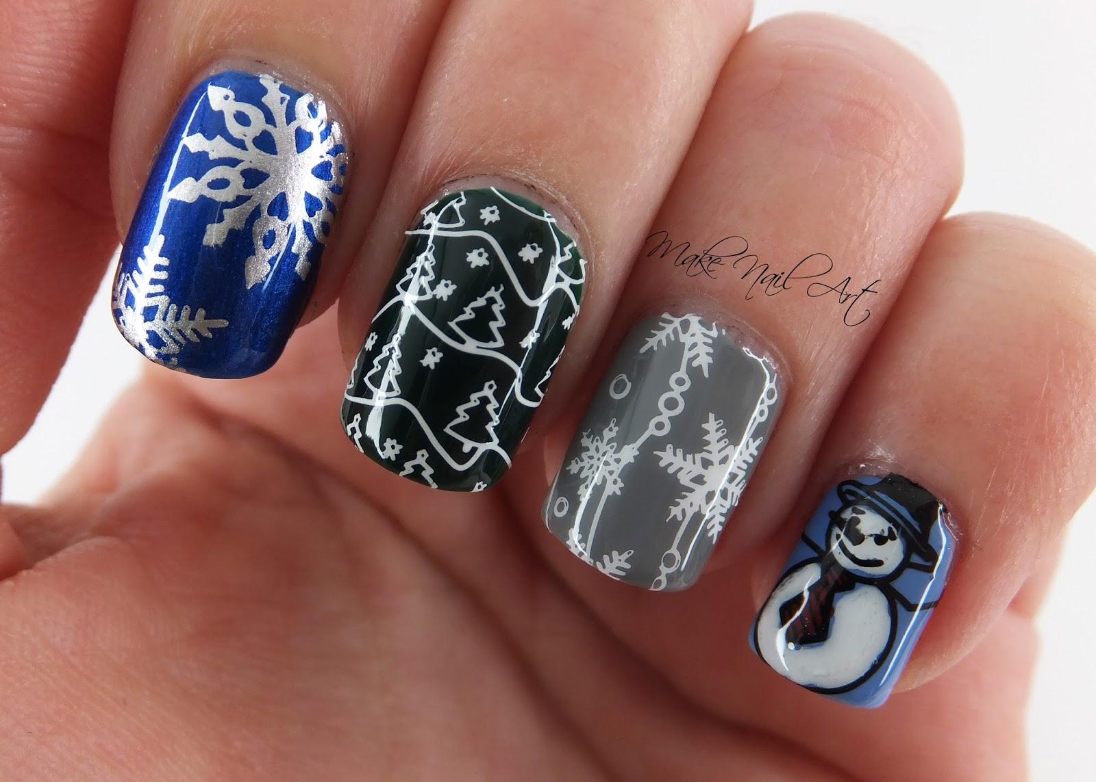 Make Nail Art Winter Vibes Stamping Nail Art Design Tutorial