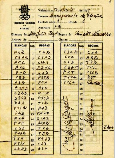 Planilla del IV Campeonato de España de Ajedrez Femenino Valencia 1955