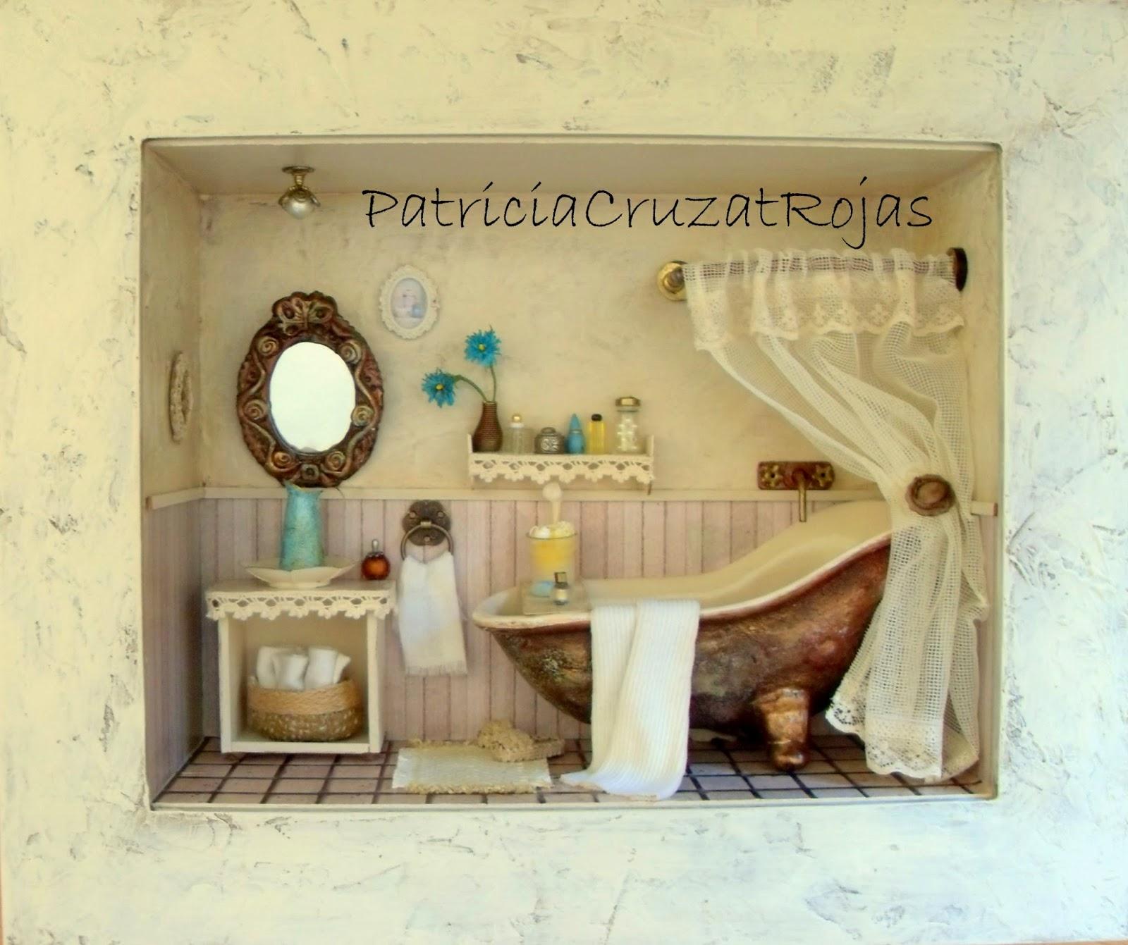 Patricia cruzat artesania y color ba o rustico con for Cuadros de bano