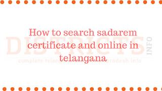How to search sadarem certificate and online in telangana
