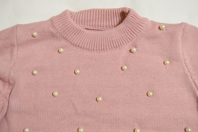Zaful Pink Sweater with Pearl Embellishments