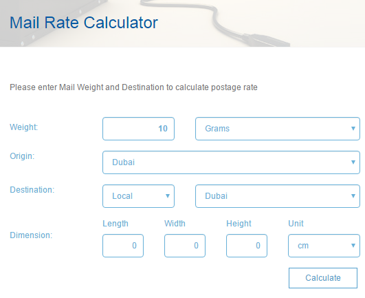 Emirates Post Price calculator