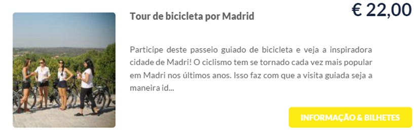 Madri - compre ingressos on-line para as atrações - Tour de Bicicleta por Madri - Ticketbar