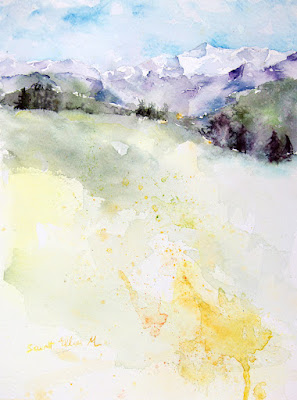 mountainscape watercolor
