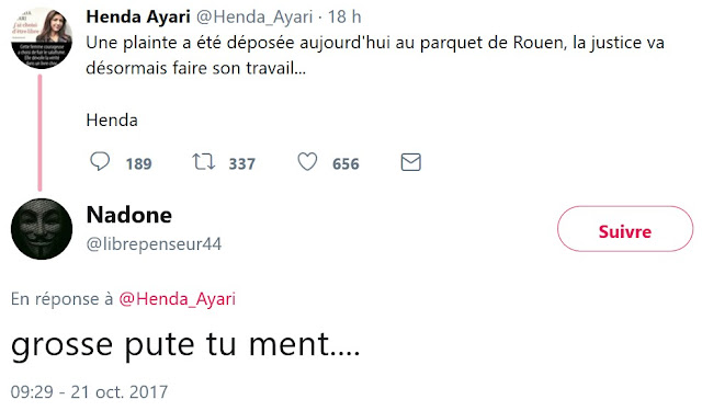 Les insultes reçues par Henda Ayari