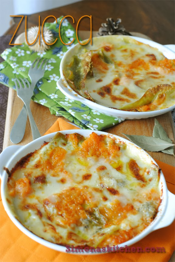 green lasagna with squash and gorgonzola cheese