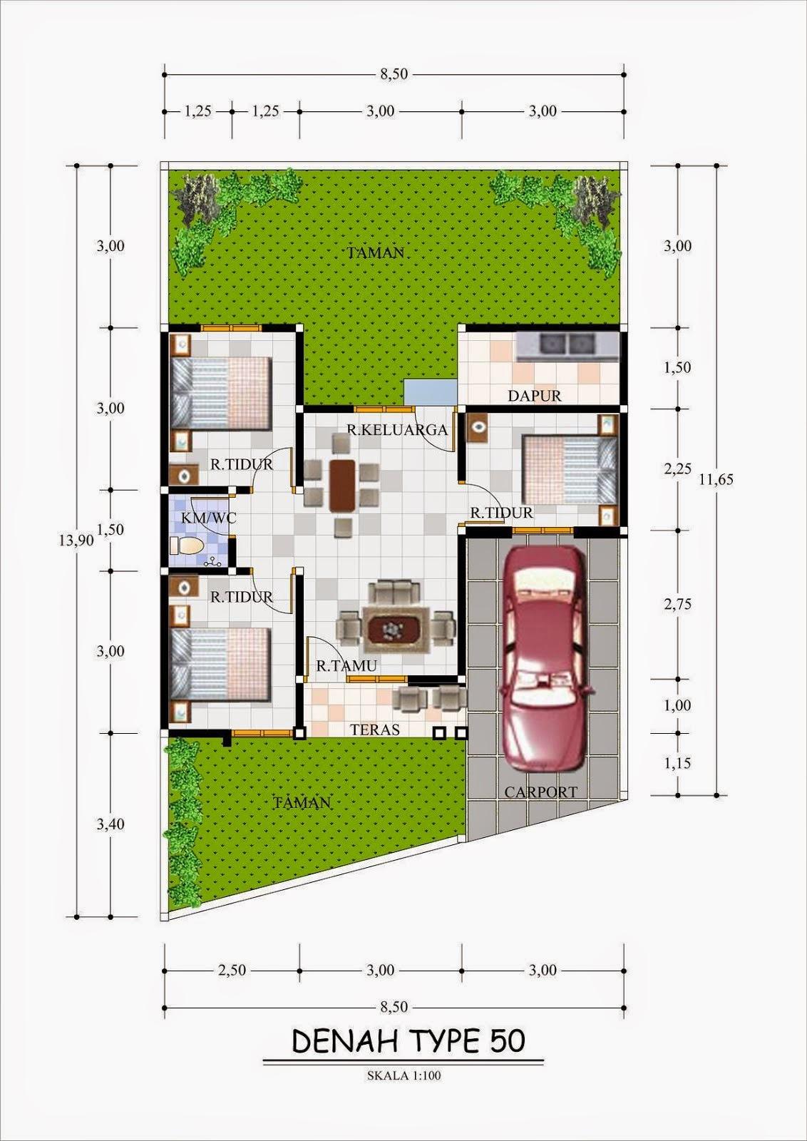 Contoh Gambar Desain Rumah Minimalis Type 60 | Aku Rumah Bagus