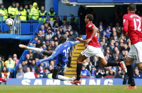 Chelsea striker Demba Ba volleys in the winning goal against Manchester United