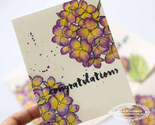 One layer card with #ellenhutson Mondo Hydrangea stamps, colored with watercolor pencils