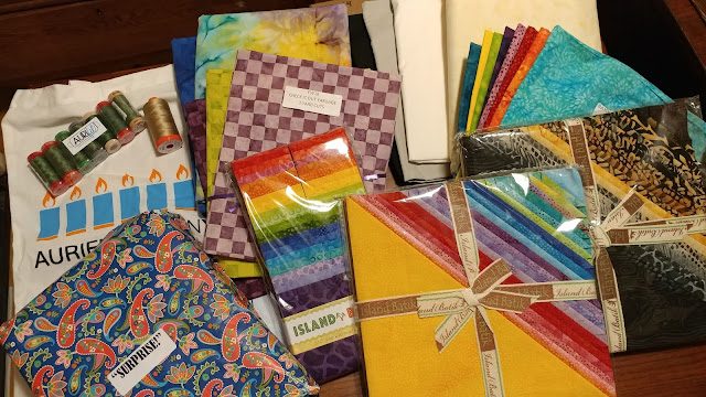 Island Batik fabrics, Aurifil thread, and Hobbs batting I got as part of the Island Batik Ambassador program