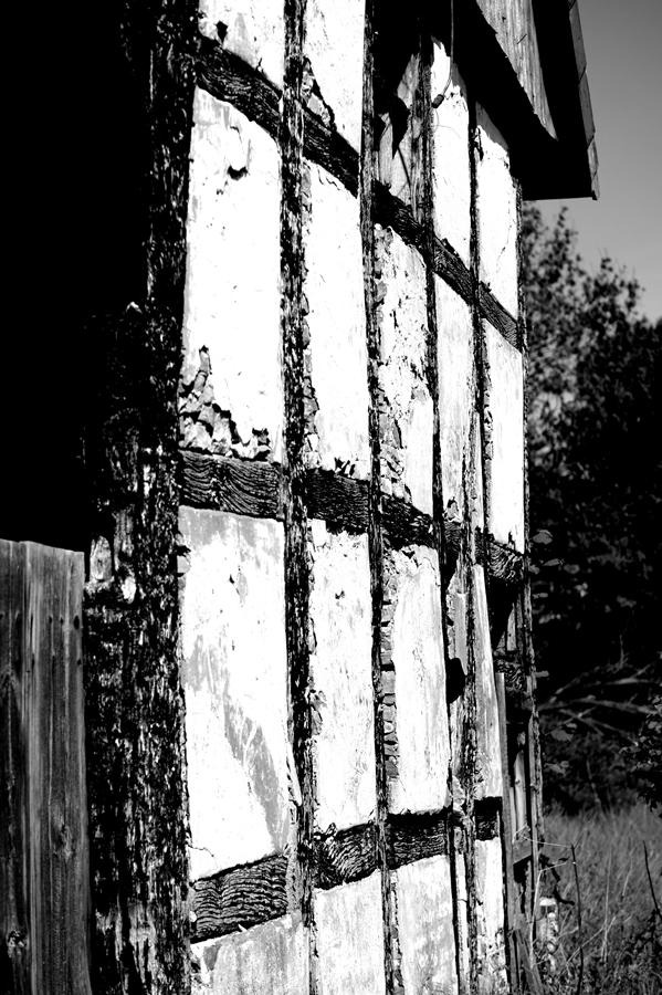 Blog + Fotografie by it's me! | fim.works | SchwarzWeissBlick No 16 | verlassenes Gehöft | Lost Place | Fachwerk mit Rissen im Putz
