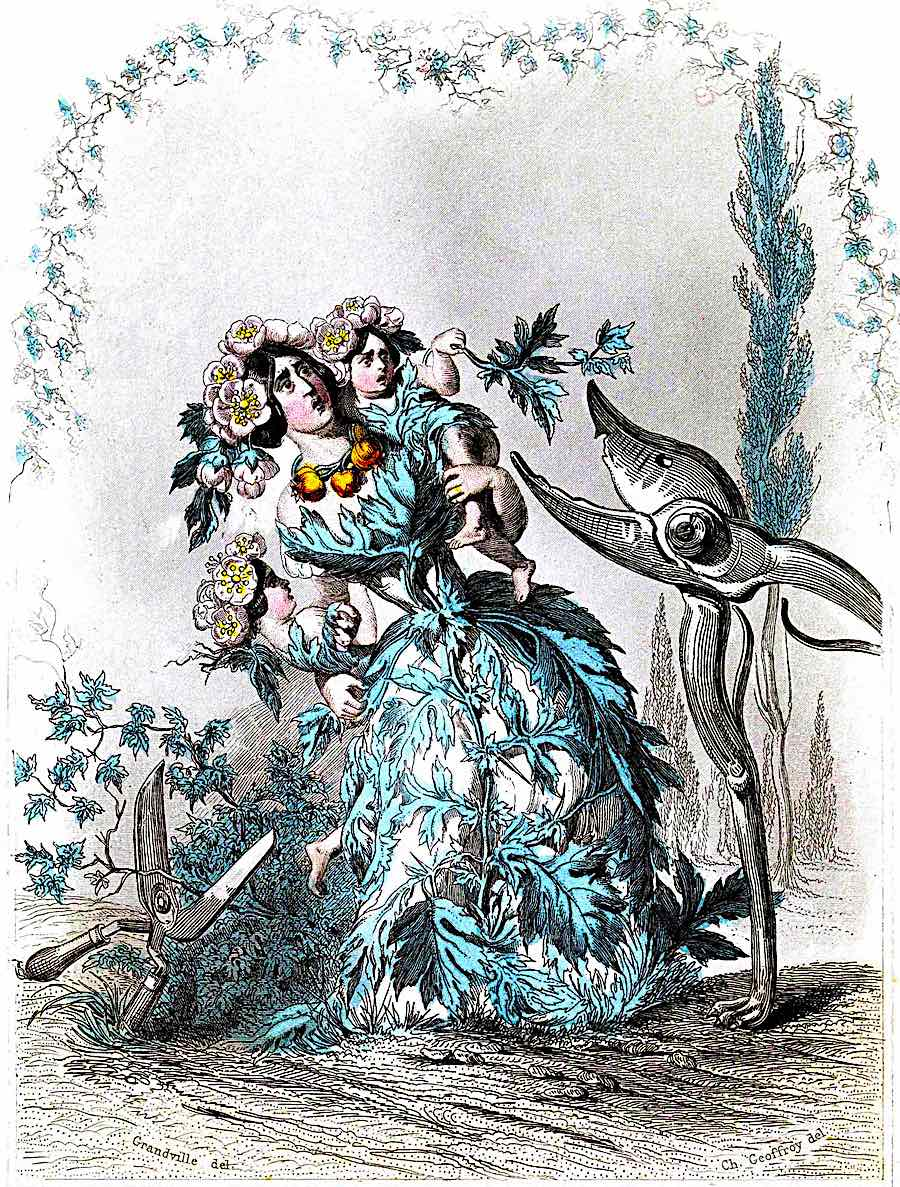 a J.J. Grandville color cartoon about pruning shears