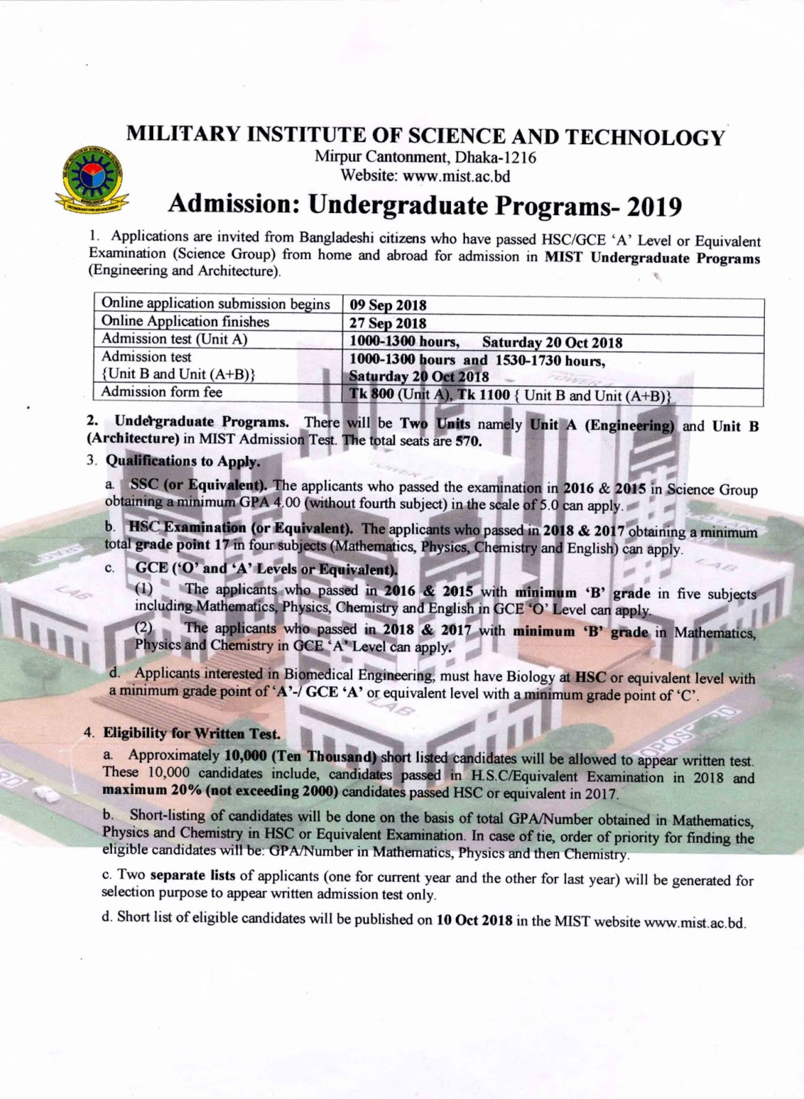 Military Institute of Science and Technology (MIST) Admission Circular 2019