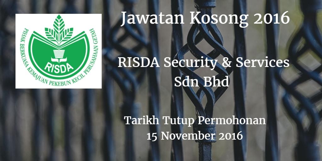Jawatan Kosong RISDA Security & Services Sdn Bhd 15 November 2016