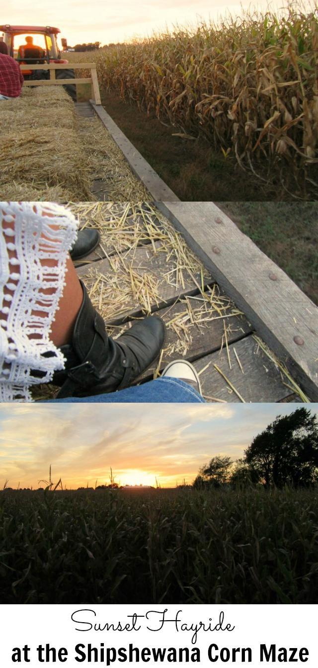 Enjoy a sunset hayride at the Shipshewana Corn Maze