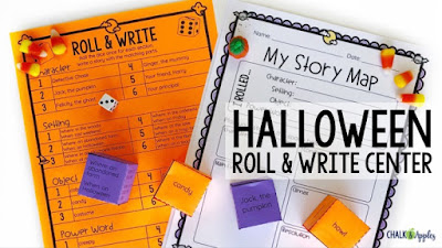 Halloween roll & write activity for upper elementary
