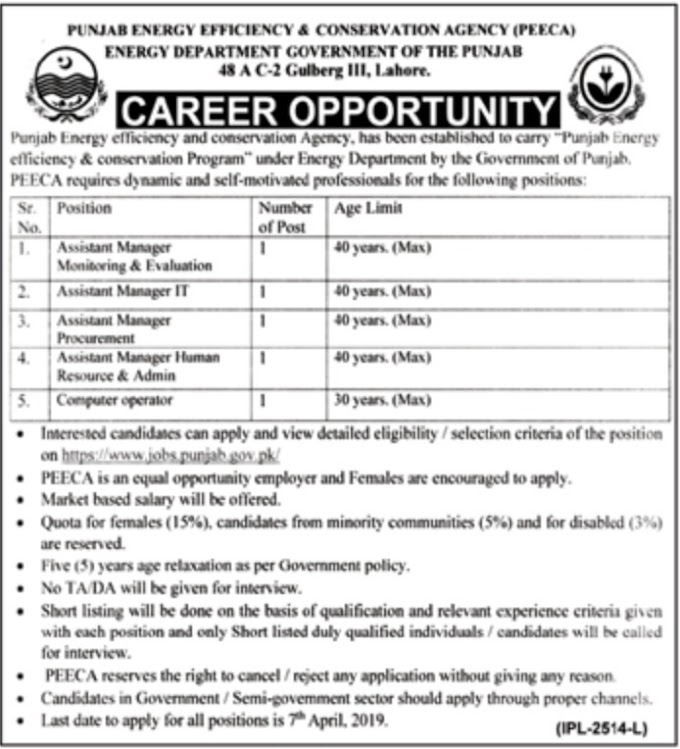 Energy Department Punjab Jobs March 2019 PEECA Lahore