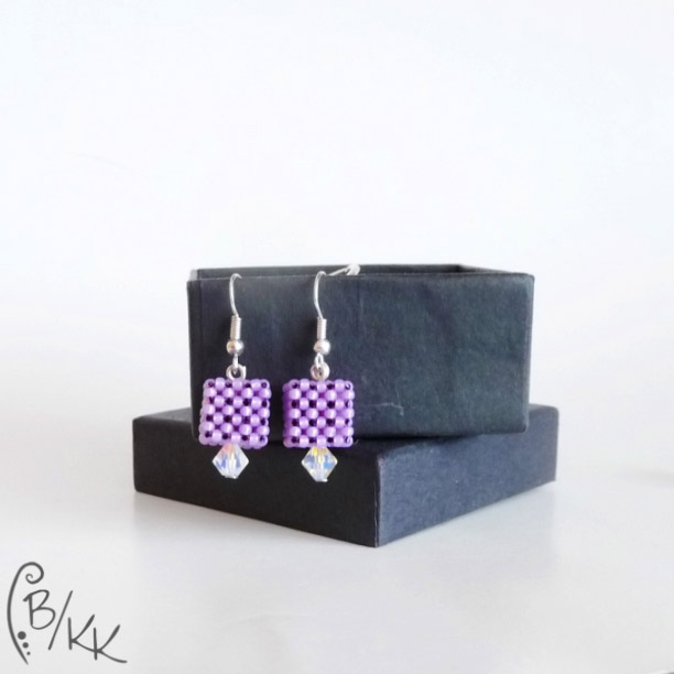 kolczyki kostki cubic right angle weave | cubic right angle weave cube earrings