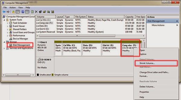 Cách chia ổ cứng trong Windows 7