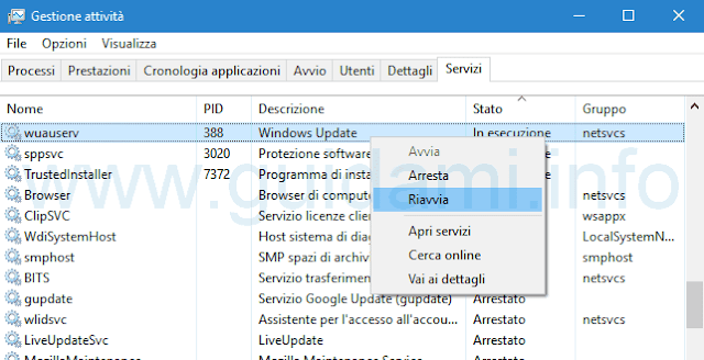 Servizio Windows Update in Task Manager su Windows 10