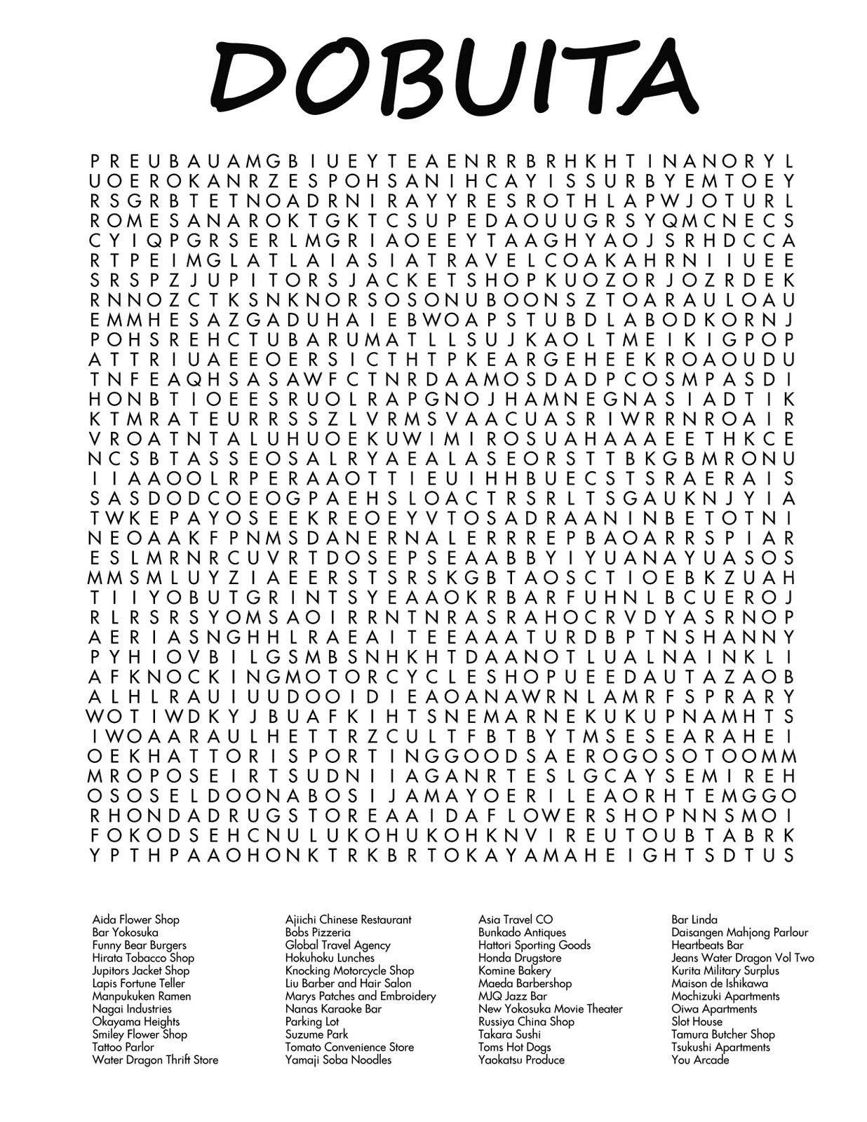 Shenmue Stare Dobuita Word Search