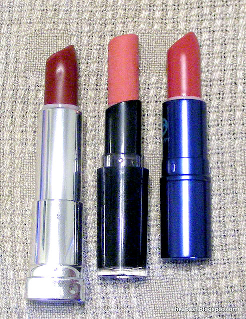 Maybelline Creamy Matte lipstick in Divine Wine, Wet N Wild Megalast lipstick in Rose-bud, and Lipstick Queen Jean Queen