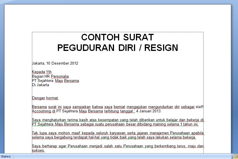 Contoh Resignation Letter Download Sample Resumes For Jobs