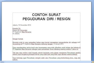 CONTOH SURAT PENGUNDURAN DIRI / RESIGN TERBAIK