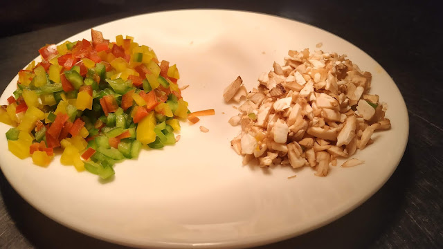 Chopped mushrooms and red yellow green bell peppers Food Recipe Dinner ideas